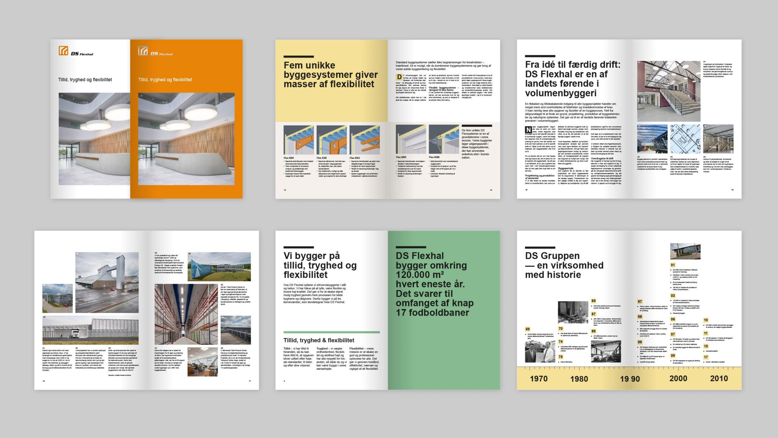 Eksempel på grafisk design af tryksager for DS Flexhal