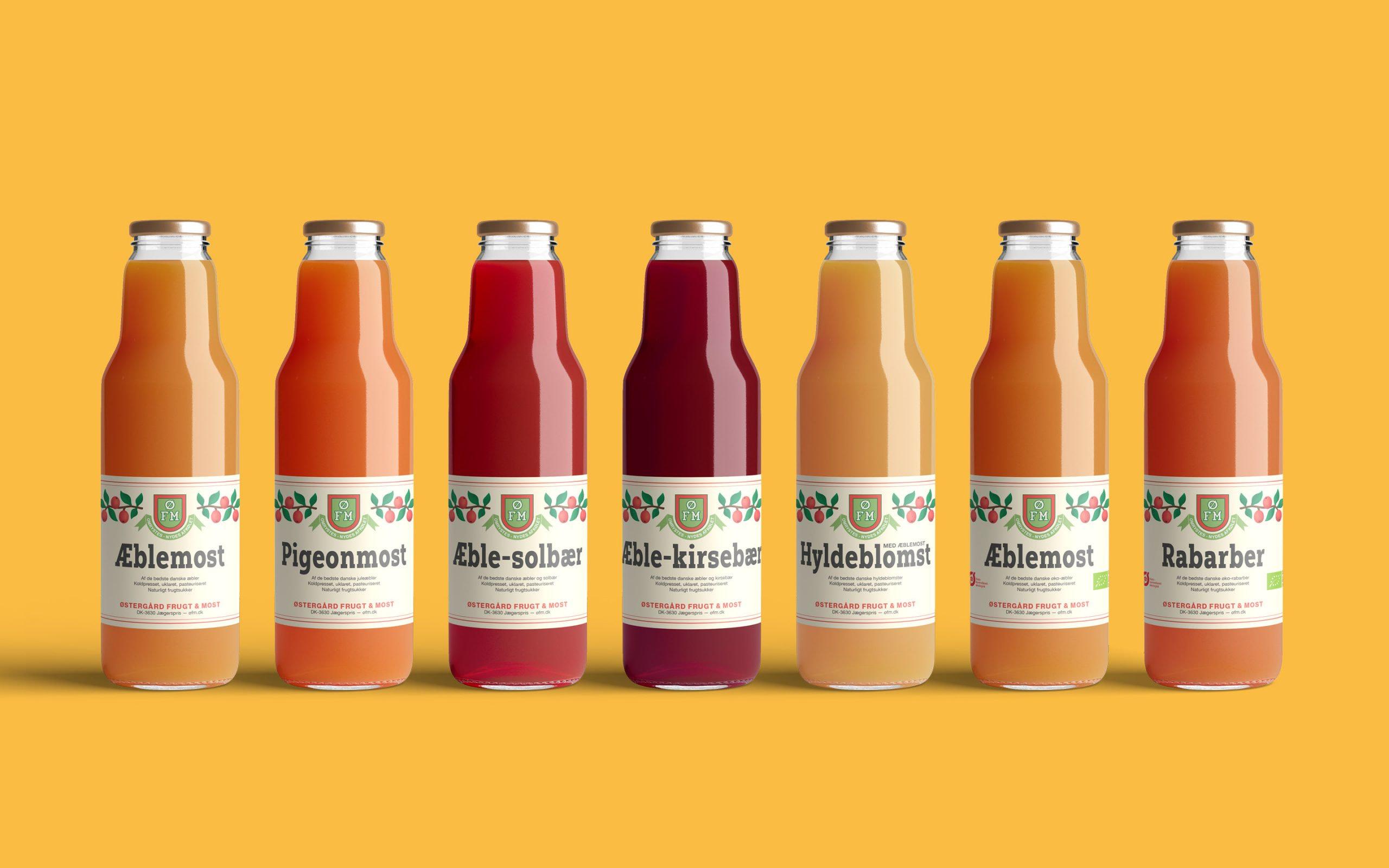 Etiketter som del af visuel identitet til Østergård Frugt & Most