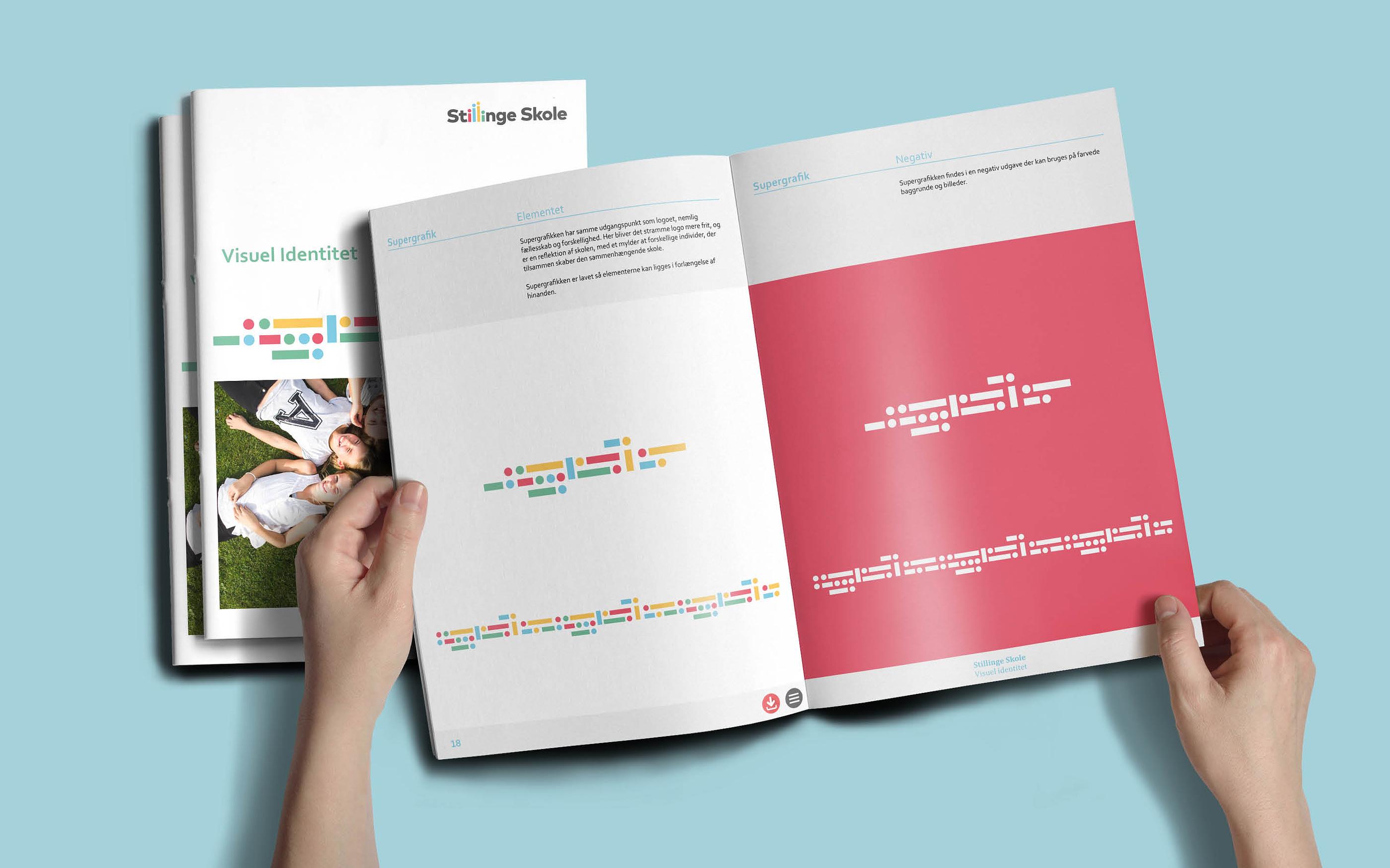 Supergrafik som del af designmanual til Stillinge Skole