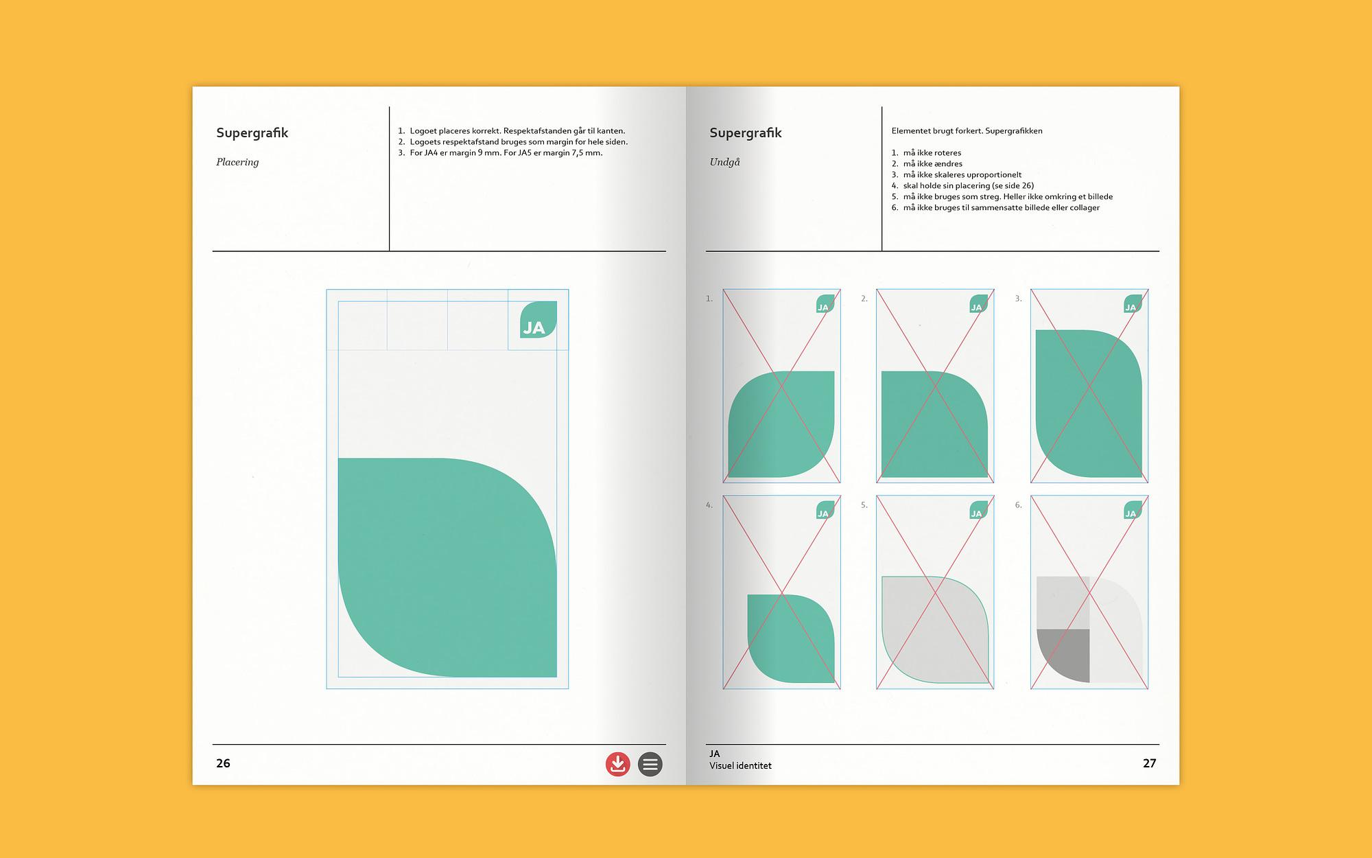 Supergrafik som del af designmanual for JA